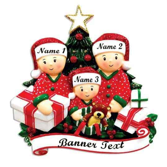 Opening Presents (family of 3) Christmas Ornament