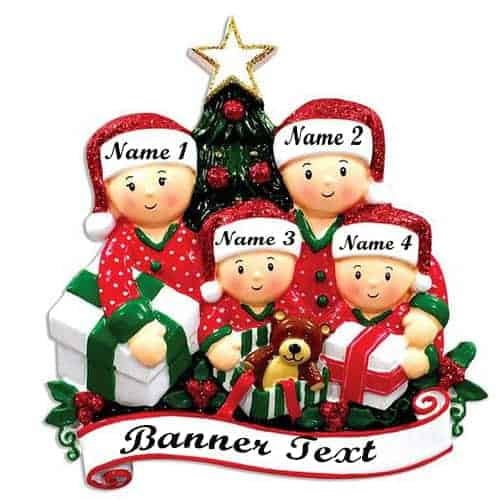 Opening Presents (family of 4) Christmas Ornament