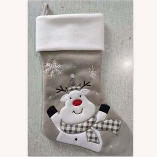 Personalised Plush Silver Reindeer Christmas Stocking NEW