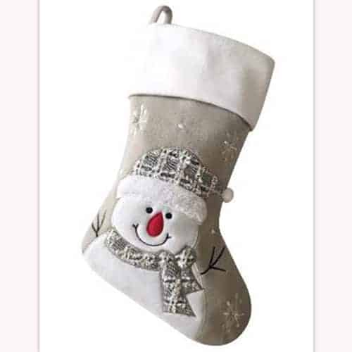 Personalised Plush Silver Snowman Christmas Stocking NEW