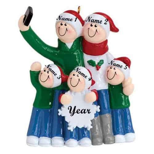 Selfie Family 5 Christmas Ornament