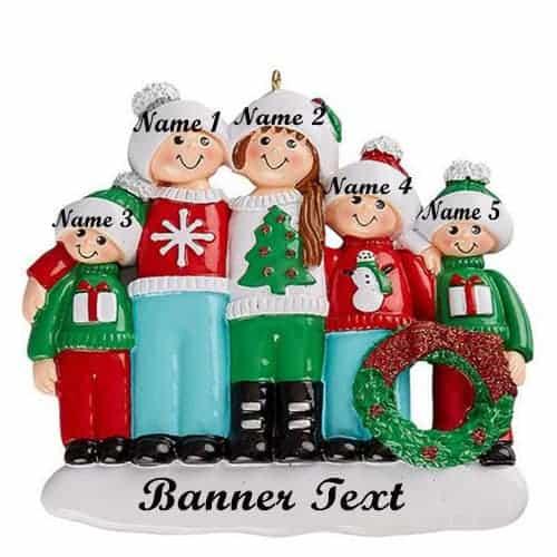 Christmas Jumper Family 5 Christmas Ornament