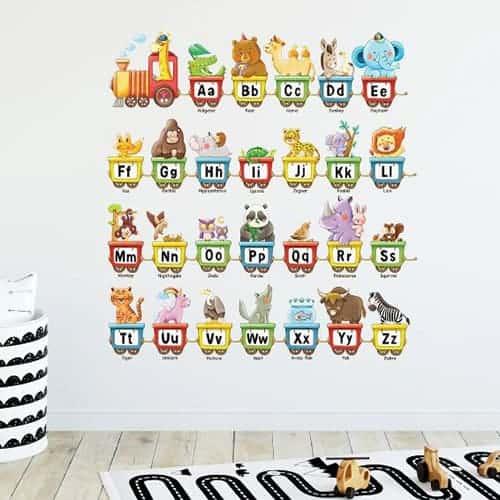 Animal Alphabet Train Wall Stickers