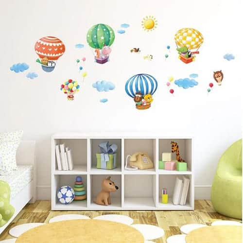 Animal Hot Air Balloons Wall Stickers